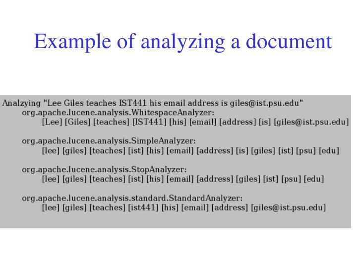 Example of analyzing a document