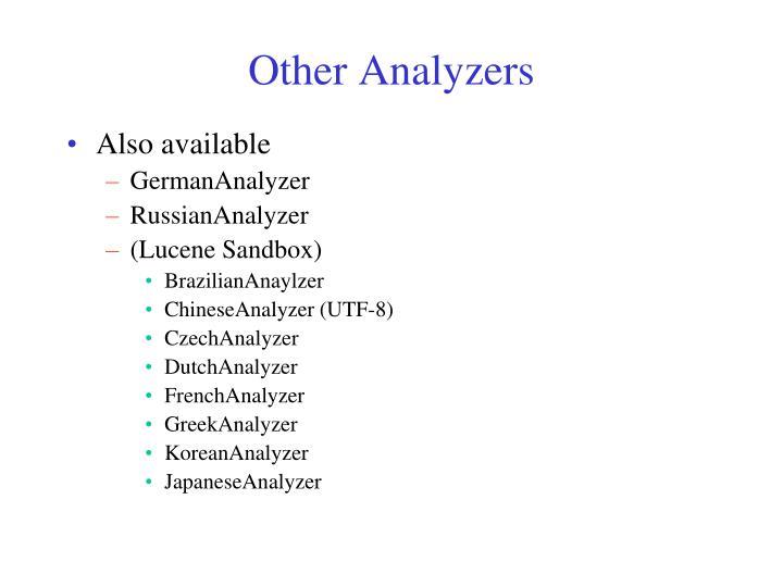 Other Analyzers