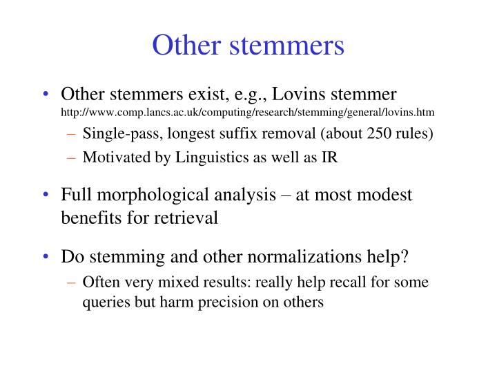 Other stemmers