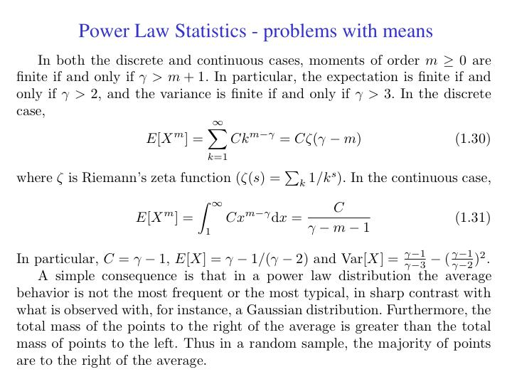 Power Law Statistics - problems with means