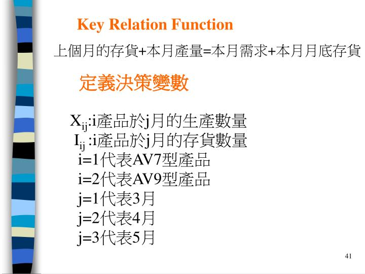 Key Relation Function