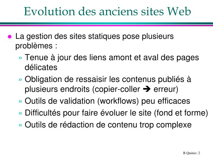 Evolution des anciens sites web
