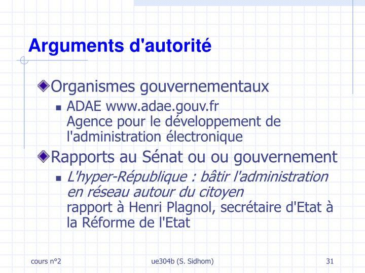 Arguments d'autorité