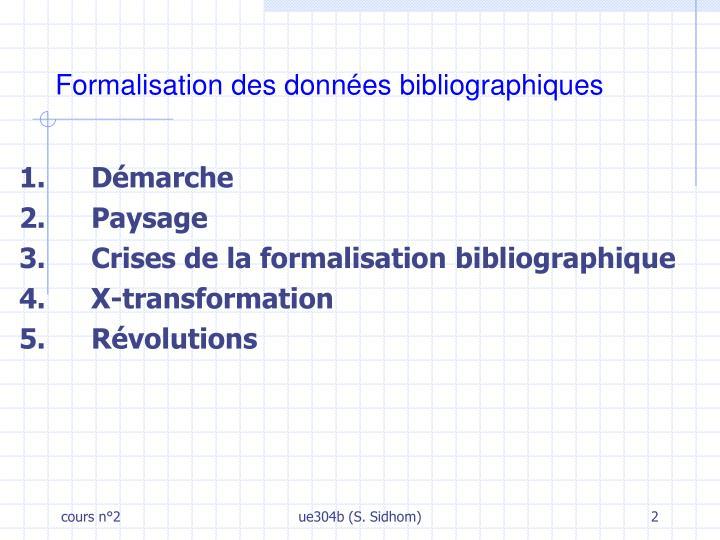 Formalisation des données bibliographiques