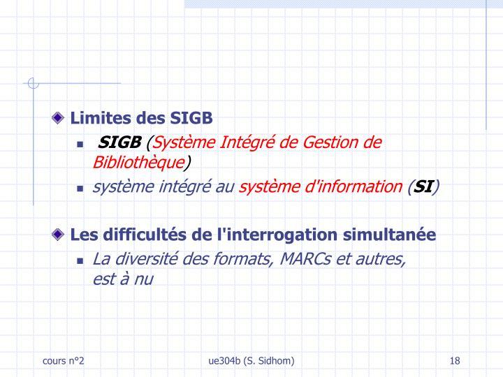 Limites des SIGB
