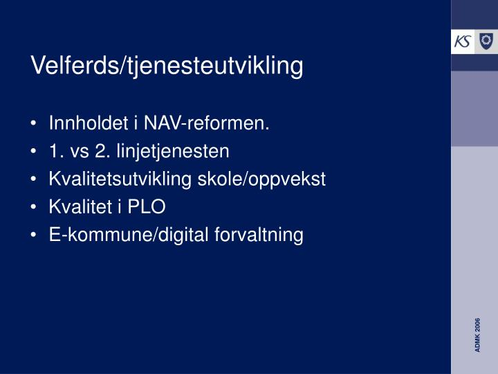 Velferds/tjenesteutvikling
