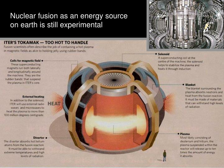 Nuclear fusion as an energy source on earth is still experimental
