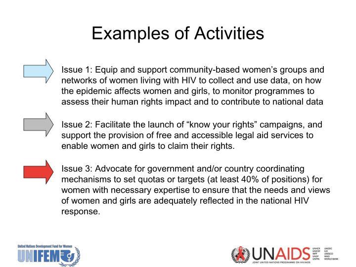 Examples of Activities