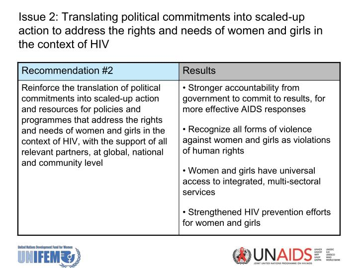 Issue 2: Translating political commitments into scaled-up action to address the rights and needs of women and girls in the context of HIV