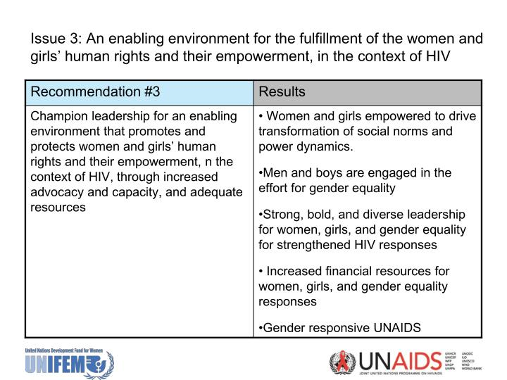 Issue 3: An enabling environment for the fulfillment of the women and girls' human rights and their empowerment, in the context of HIV