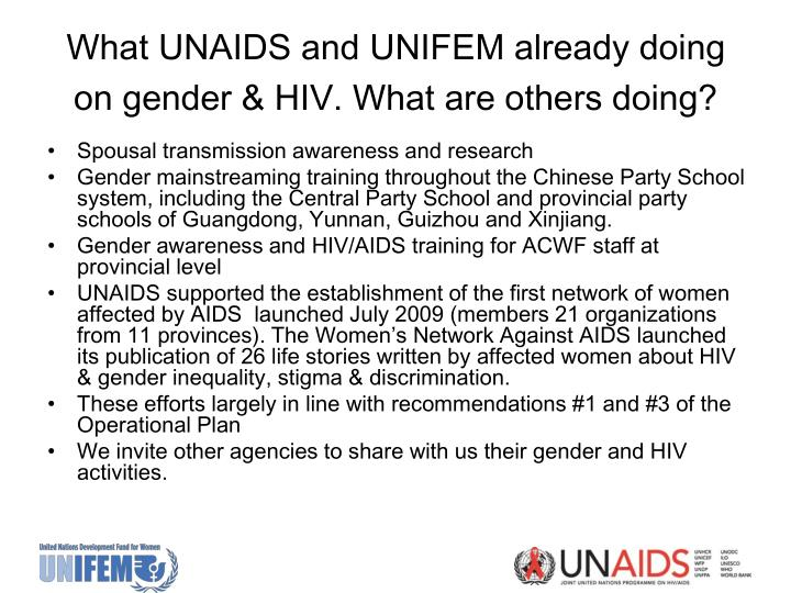 What UNAIDS and UNIFEM already doing on gender & HIV.