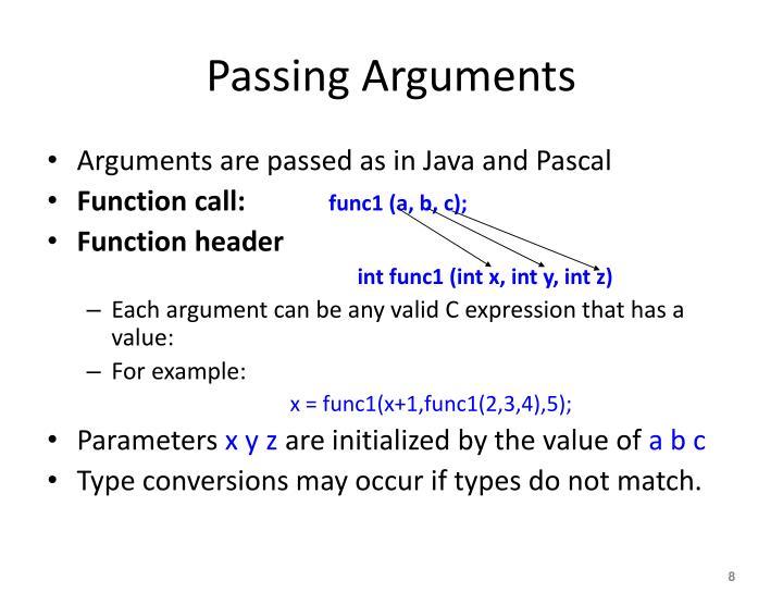 Passing Arguments