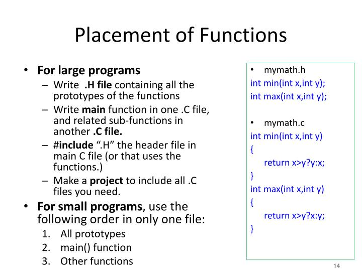 Placement of Functions