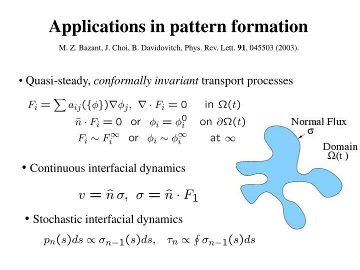 Applications in pattern formation