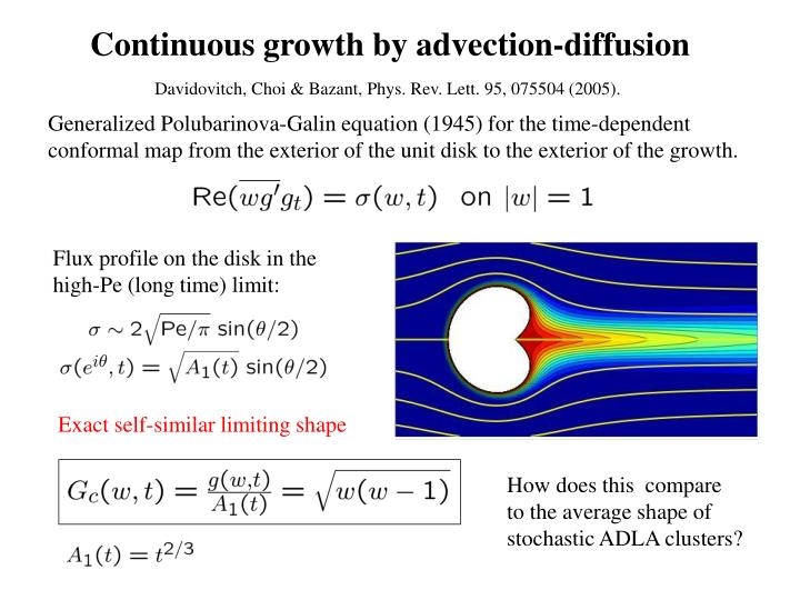 Continuous growth by advection-diffusion