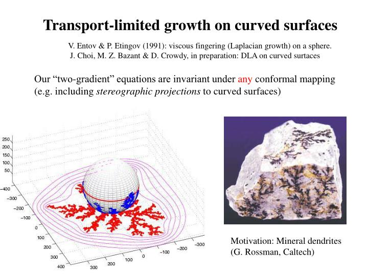 Transport-limited growth on curved surfaces