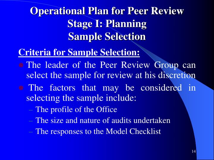 Operational Plan for Peer Review Stage I: Planning