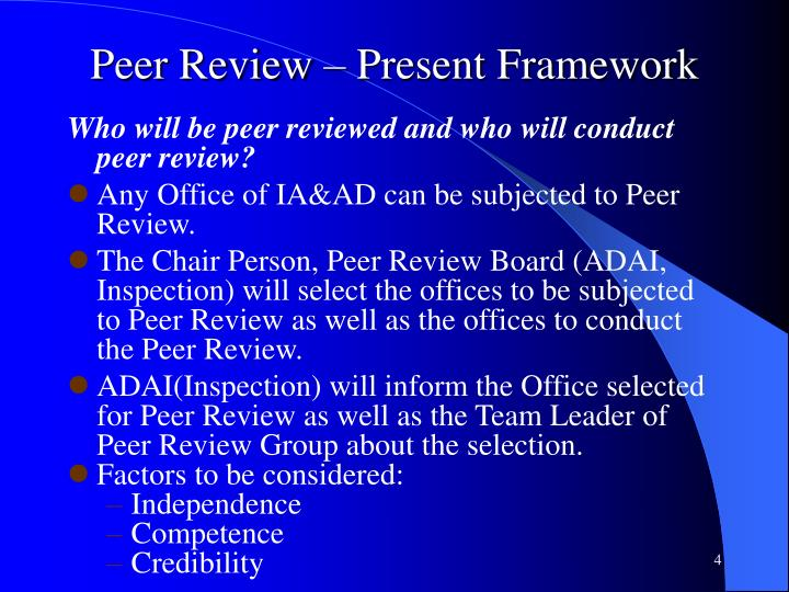 Peer Review – Present Framework