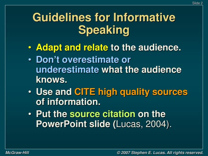 Guidelines for informative speaking