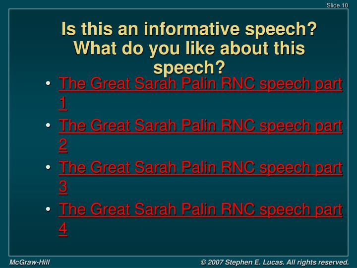 Is this an informative speech?