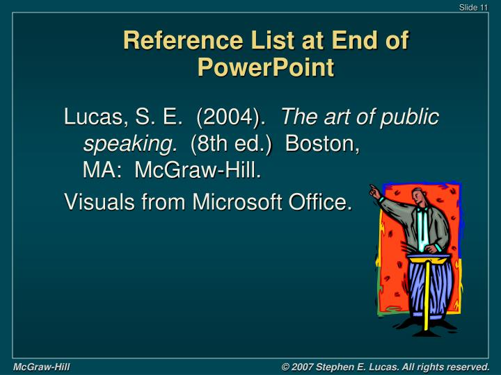 Reference List at End of PowerPoint