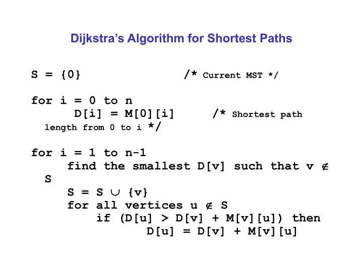 Dijkstra's Algorithm for Shortest Paths