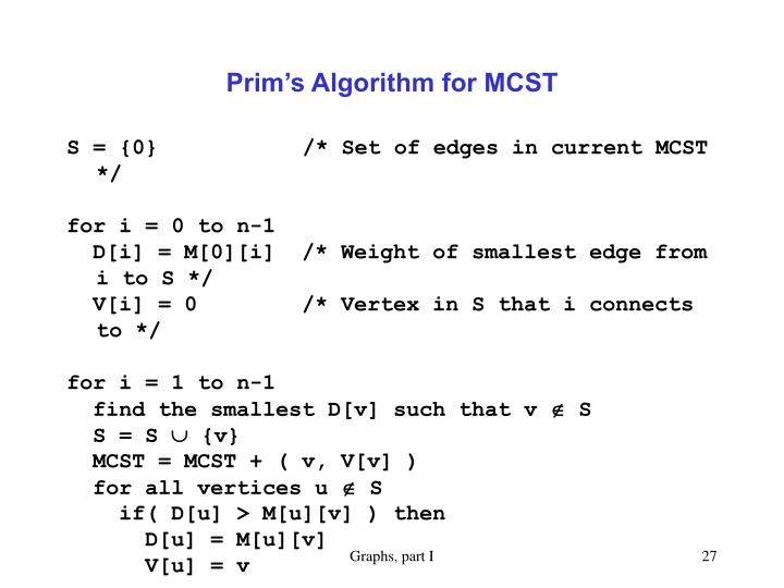 Prim's Algorithm for MCST