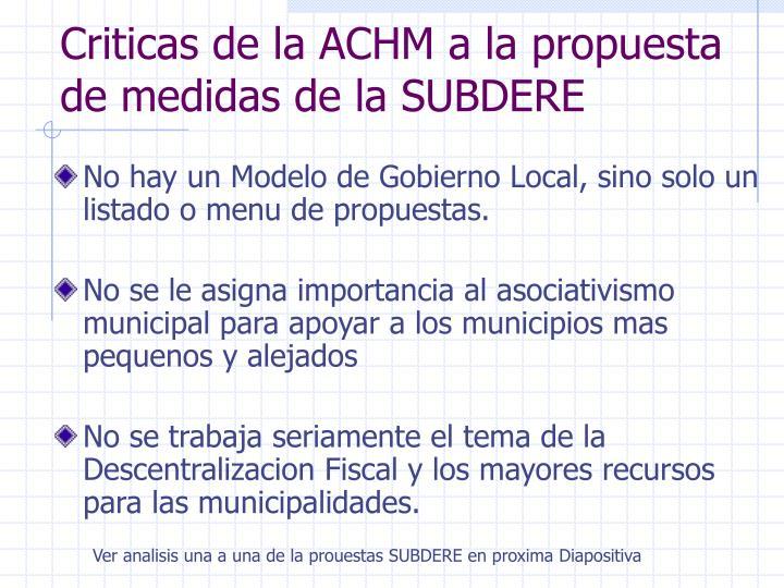 Criticas de la ACHM a la propuesta de medidas de la SUBDERE