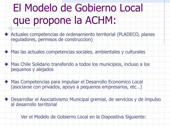 El Modelo de Gobierno Local que propone la ACHM: