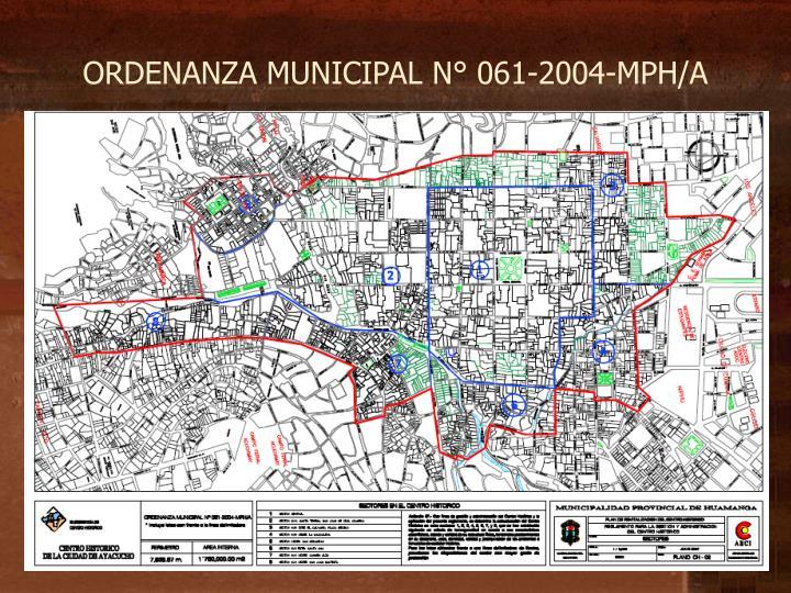 ORDENANZA MUNICIPAL N° 061-2004-MPH/A