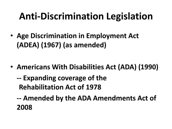 Anti-Discrimination Legislation