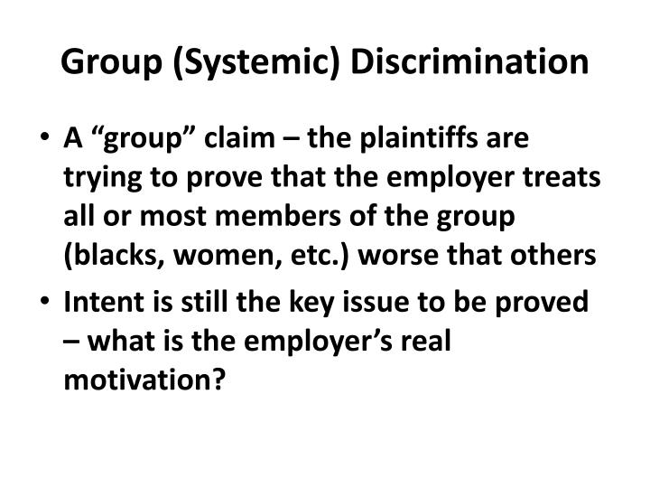 Group (Systemic) Discrimination