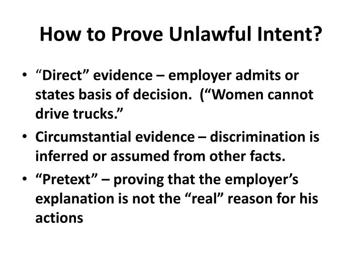 How to Prove Unlawful Intent?