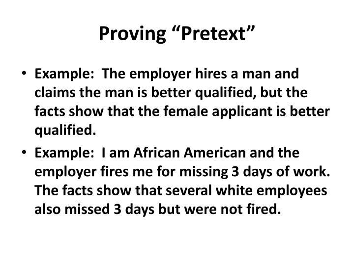 "Proving ""Pretext"""