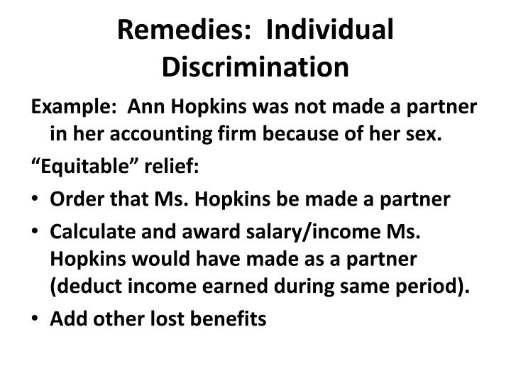 Remedies:  Individual Discrimination