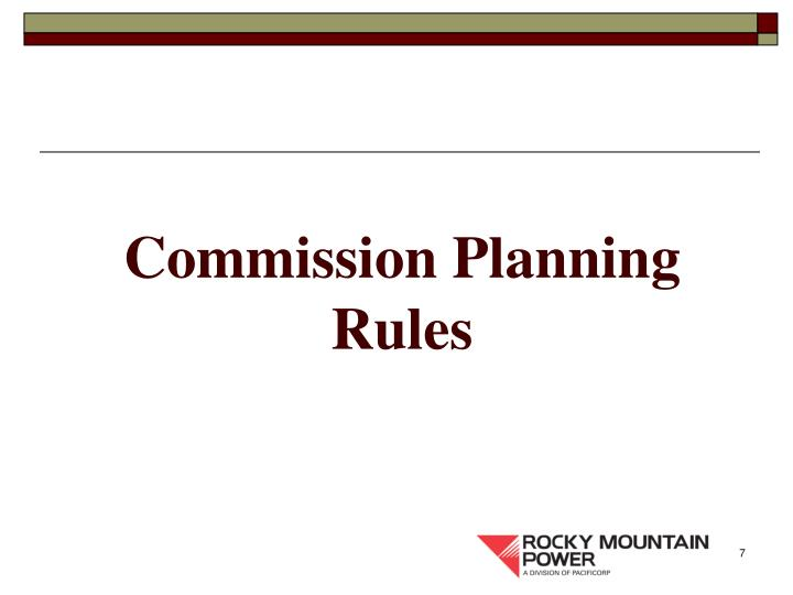 Commission Planning Rules