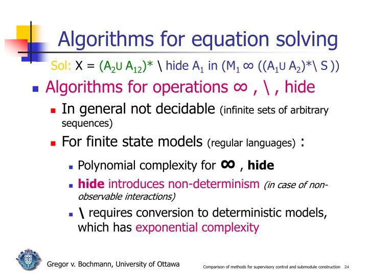 Algorithms for equation solving