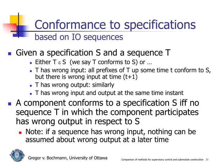 Conformance to specifications