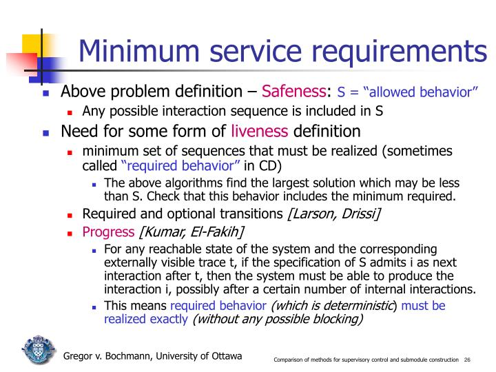 Minimum service requirements
