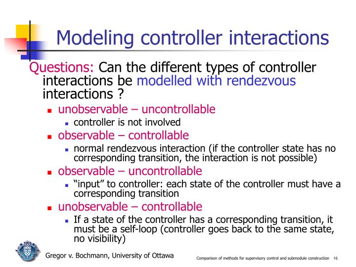 Modeling controller interactions