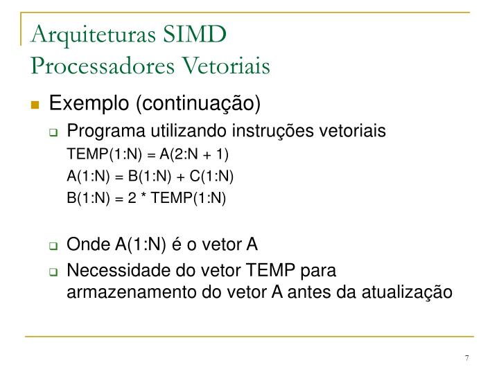 Arquiteturas SIMD