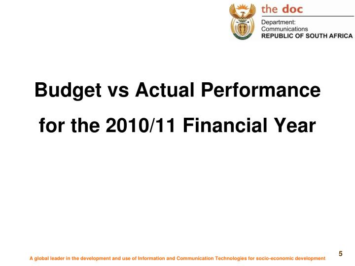 Budget vs Actual Performance