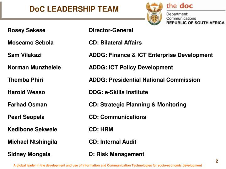 DoC LEADERSHIP TEAM