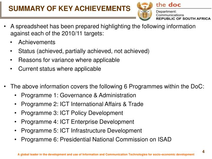 SUMMARY OF KEY ACHIEVEMENTS