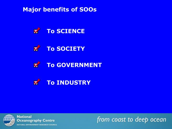 Major benefits of SOOs