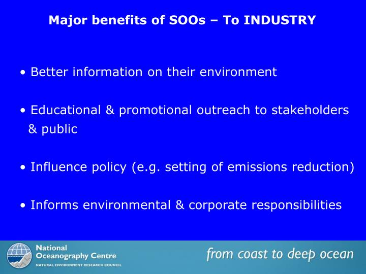 Major benefits of SOOs – To INDUSTRY
