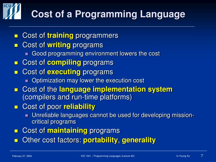 Cost of a Programming Language