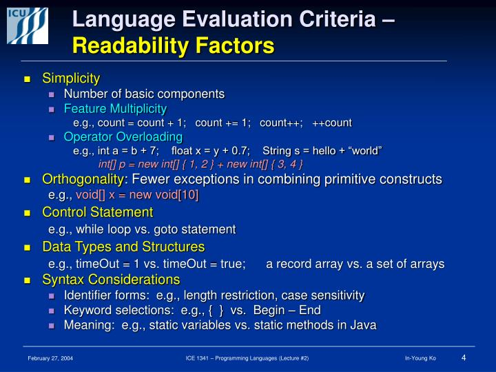 Language Evaluation Criteria –