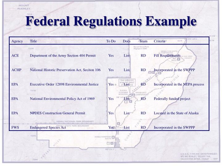 Federal Regulations Example