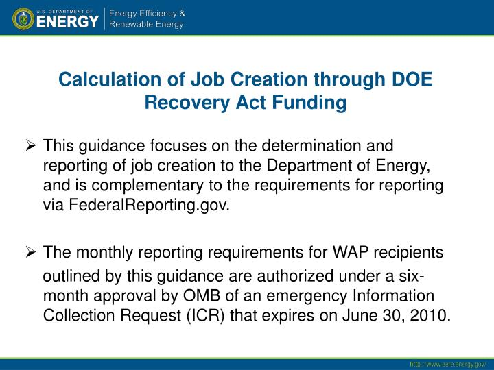 Calculation of Job Creation through DOE Recovery Act Funding